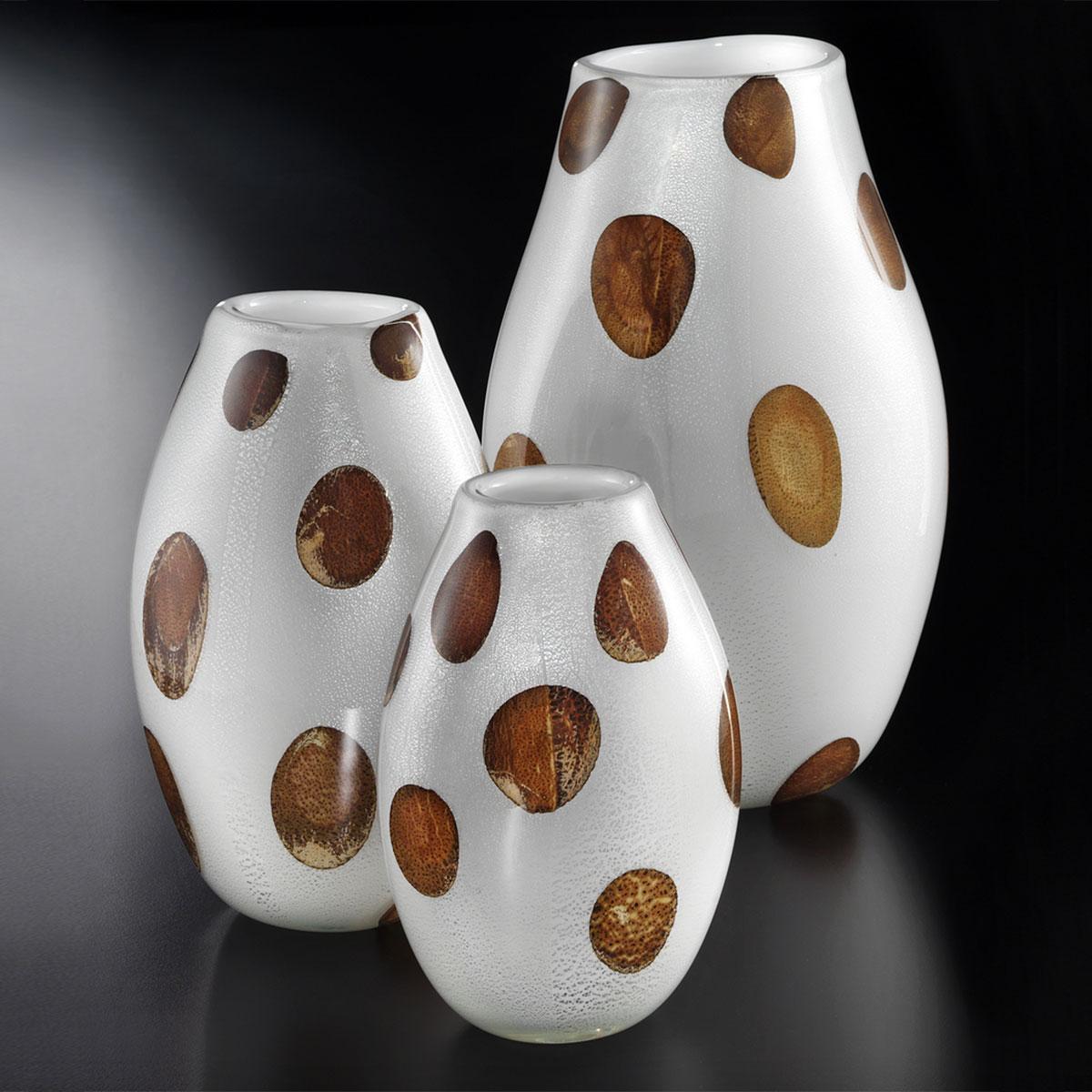 """""""Baldo"""" vase en verre de Murano - blanc, argent avec ambre points"""