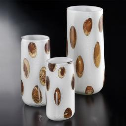 """Winston"" Murano glass vase - white, silver with amber spots"