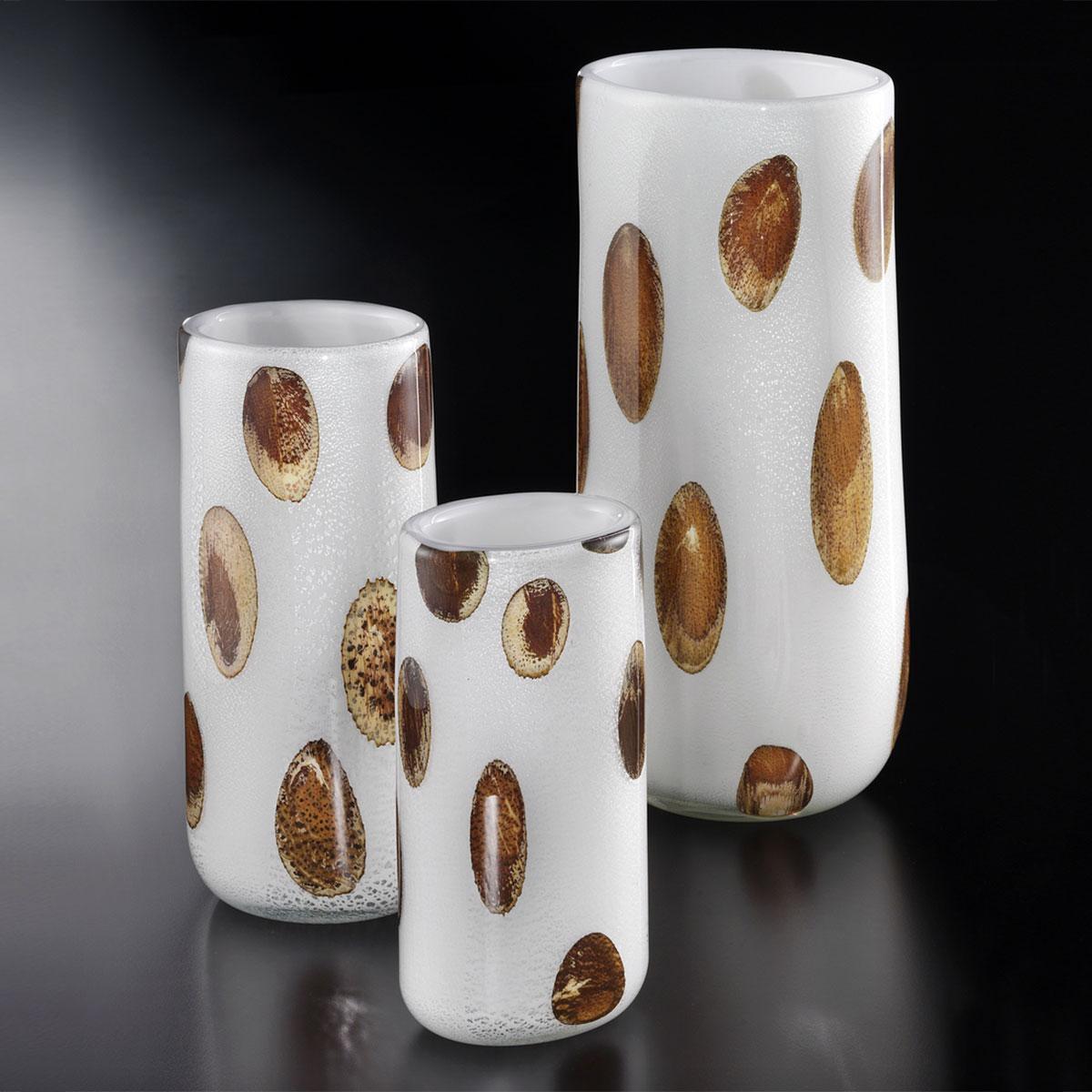 """""""Winston"""" vase en verre de Murano - blanc, argent avec ambre points"""