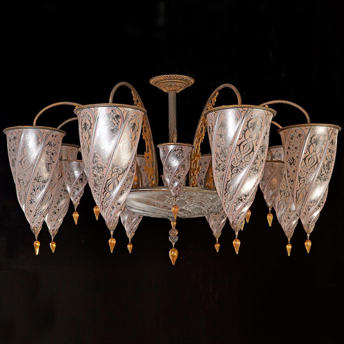 """""""Sinope"""" lampara de araña de Murano - 17 luces - neutral"""