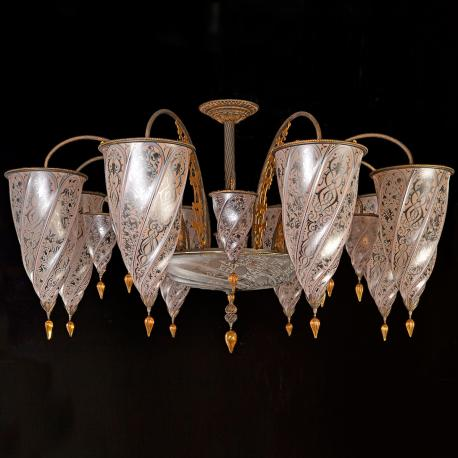 """Sinope"" Murano glass chandelier - 17 lights - neutral"