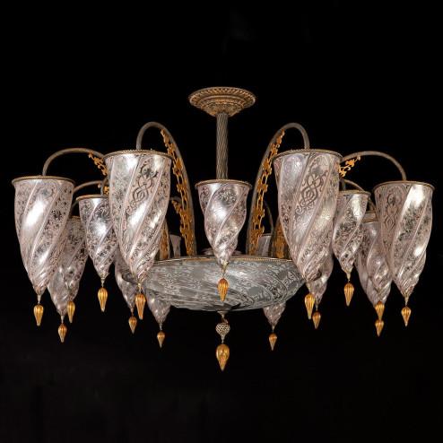 """""""Ismailia"""" lustre en cristal de Murano - 17 lumières - neutre"""