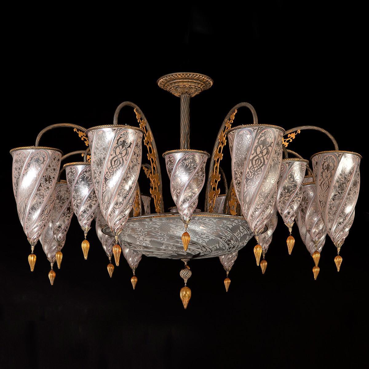 """""""Ismailia"""" lampara de araña de Murano - 17 luces - neutral"""