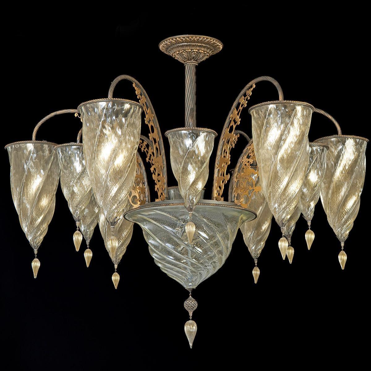"""Medina"" lustre en cristal de Murano - 13 lumières - or"
