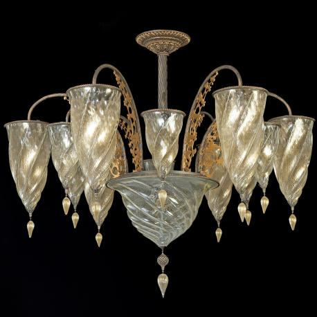"""Medina"" Murano glass chandelier - 13 lights - gold"