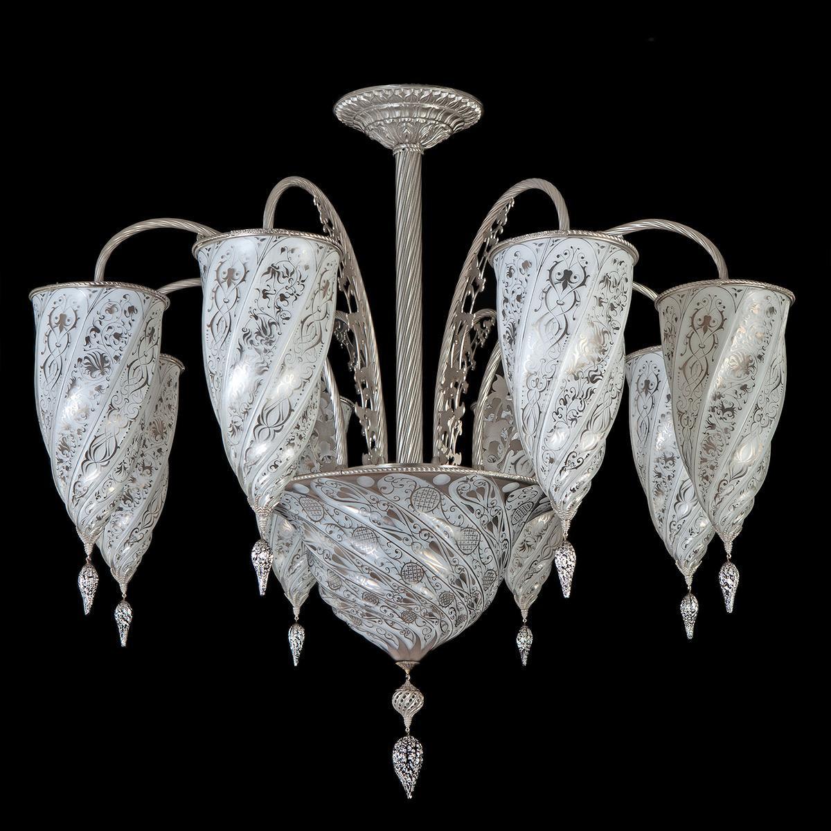 """Jibla"" lustre en cristal de Murano - 9 lumières - blanc"
