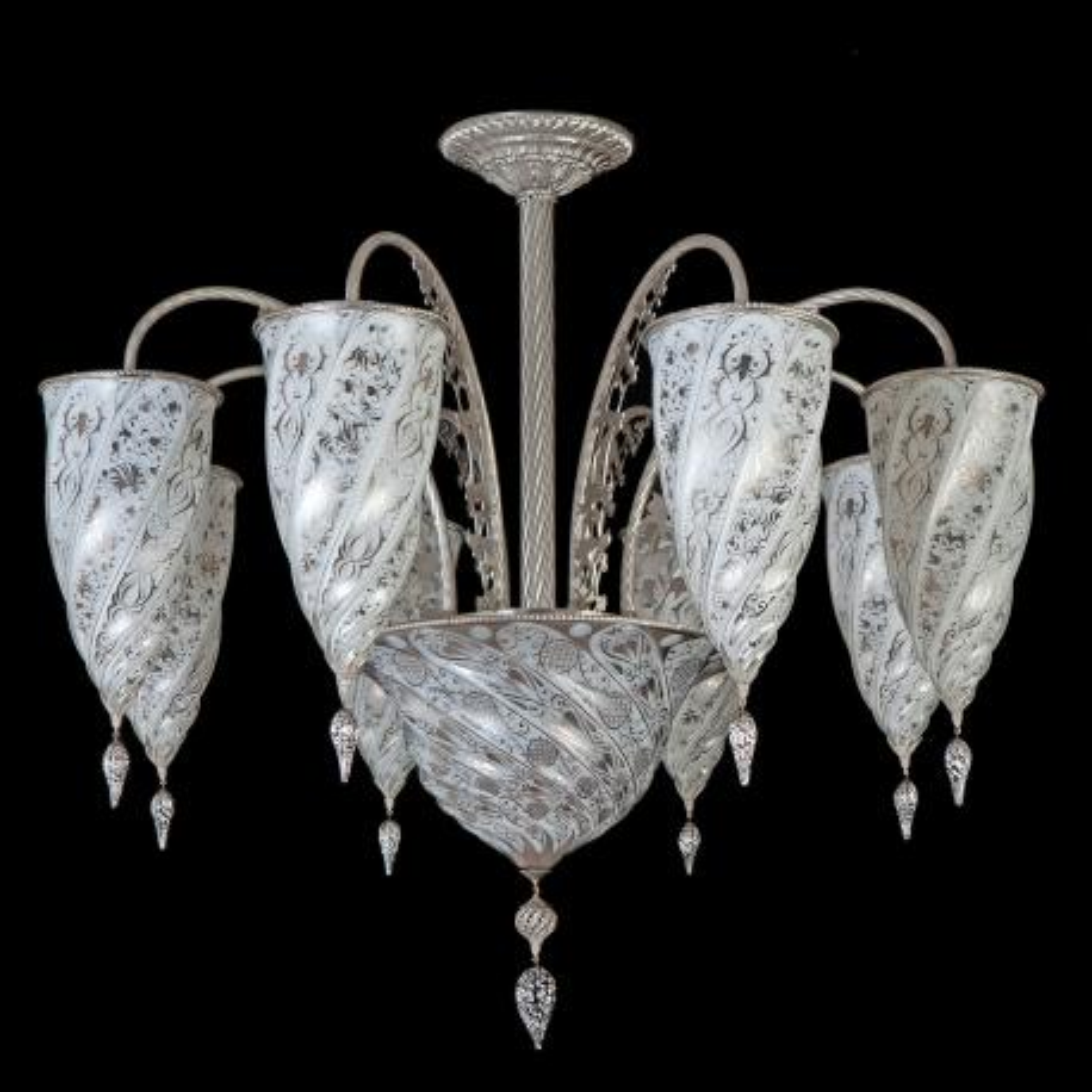 """Jibla"" Murano glas Kronleuchter - 9 flammig - weiß"