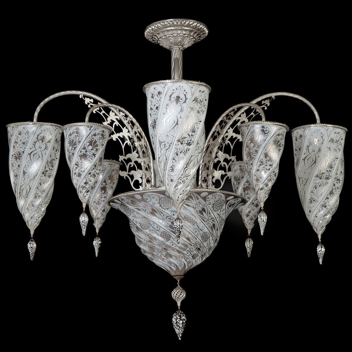 """Giza"" lustre en cristal de Murano - 9 lumières - blanc"
