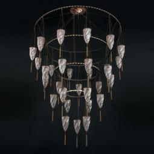 """Doha"" Murano glas Kronleuchter - 30 flammig - neutral"