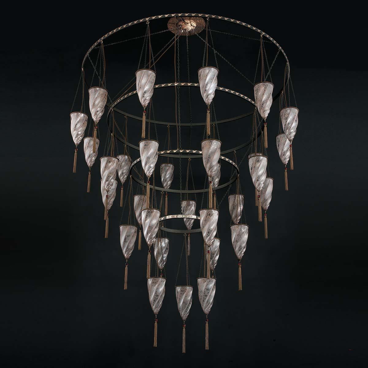 """""""Doha"""" lampara de araña de Murano - 30 luces - neutral"""