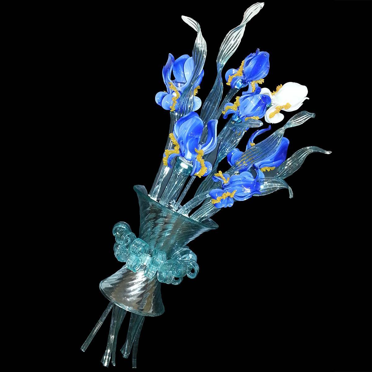 """""""Mazzo di Iris"""" Murano glass sconce - 3 lights -"""