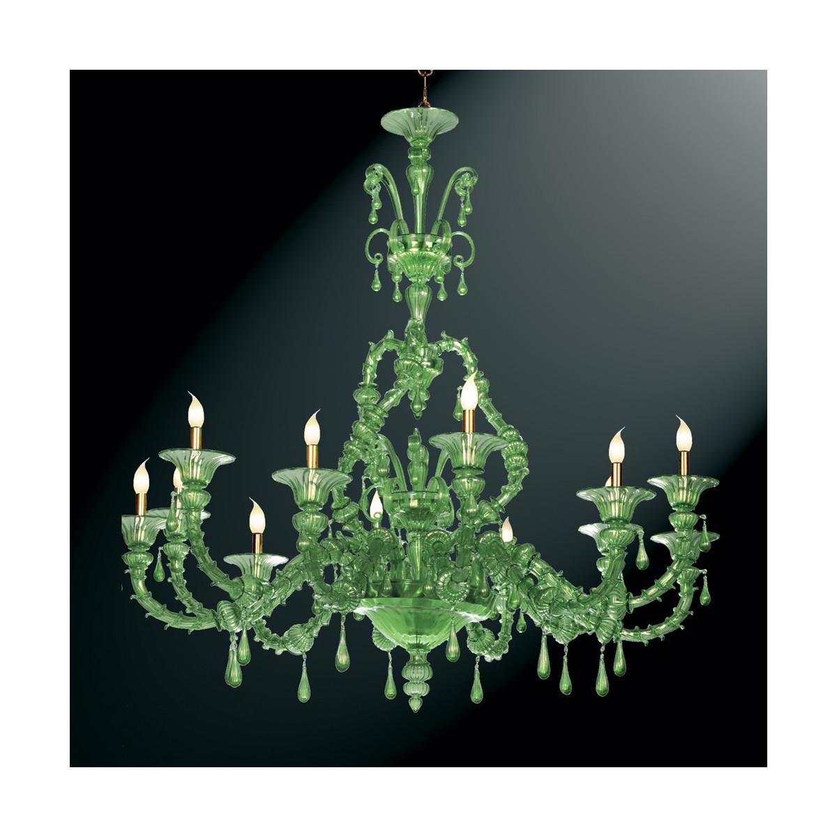 """""""Smeraldo"""" araña de Murano verde 12 luces"""