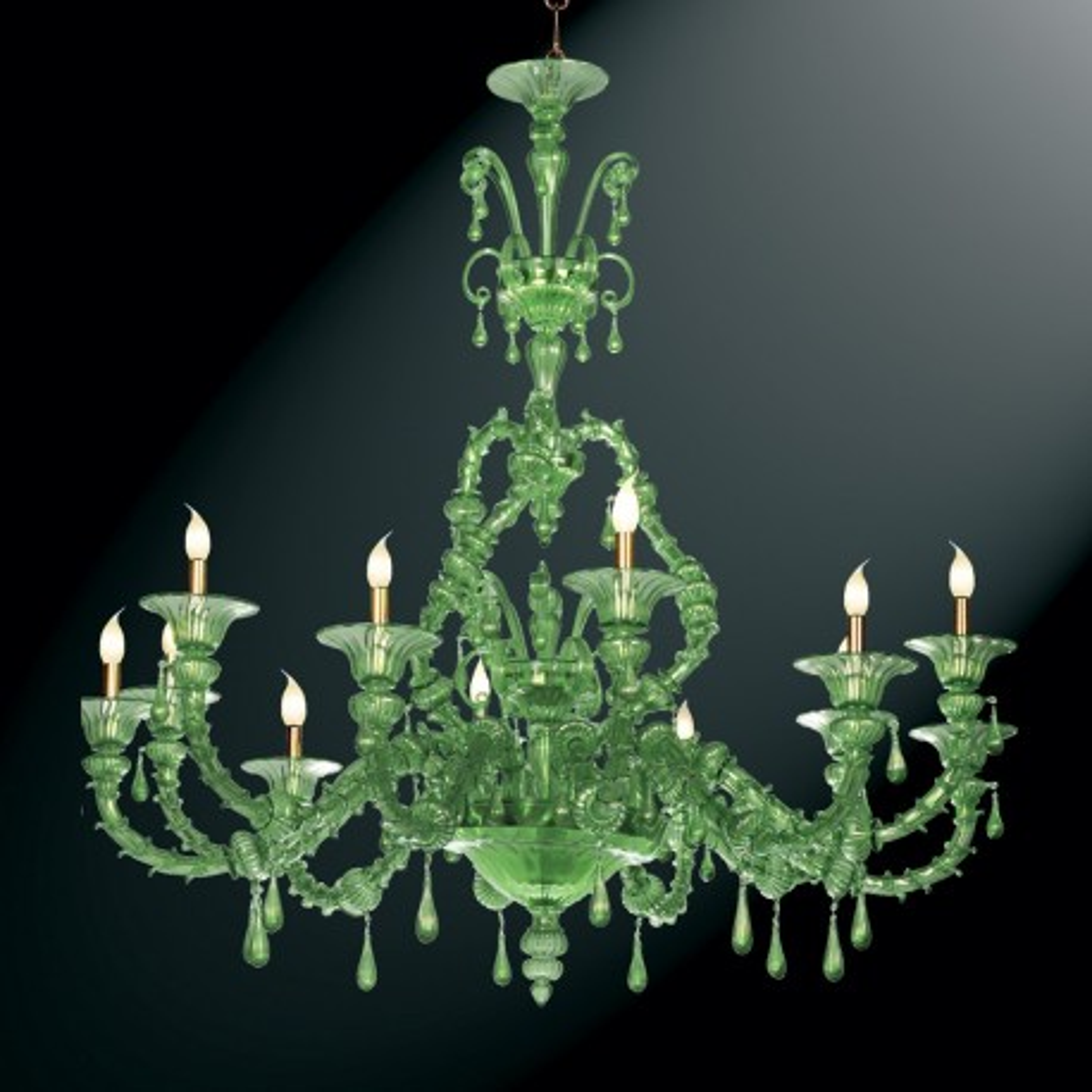 """Smeraldo"" 12 lights green Murano glass chandelier"