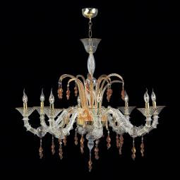 """Freya"" Murano glass chandelier - 8 lights - transparent and amber"