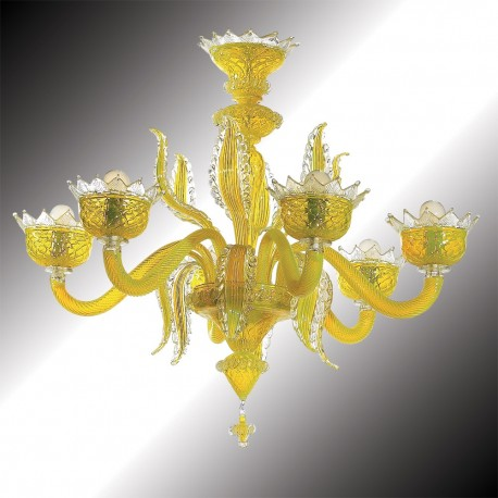 """Topazio"" 6 lights yellow Murano glass chandelier"