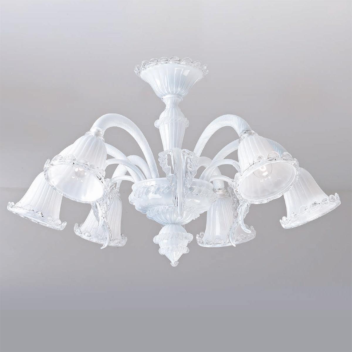"""""""Tara"""" lampara de araña de Murano - 6 luces - blanco"""