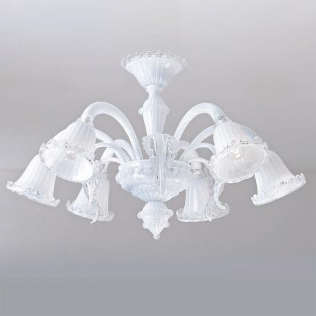 """Tara"" Murano glass chandelier - 6 lights - white"