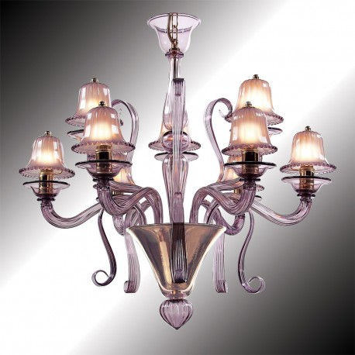 """Mantua"" 12 lumières lustre en verre de Murano améthyste"