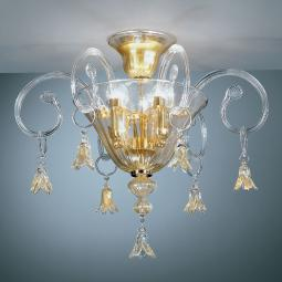 """Amelia"" Murano glass ceiling light - 3 lights - transparent and gold"