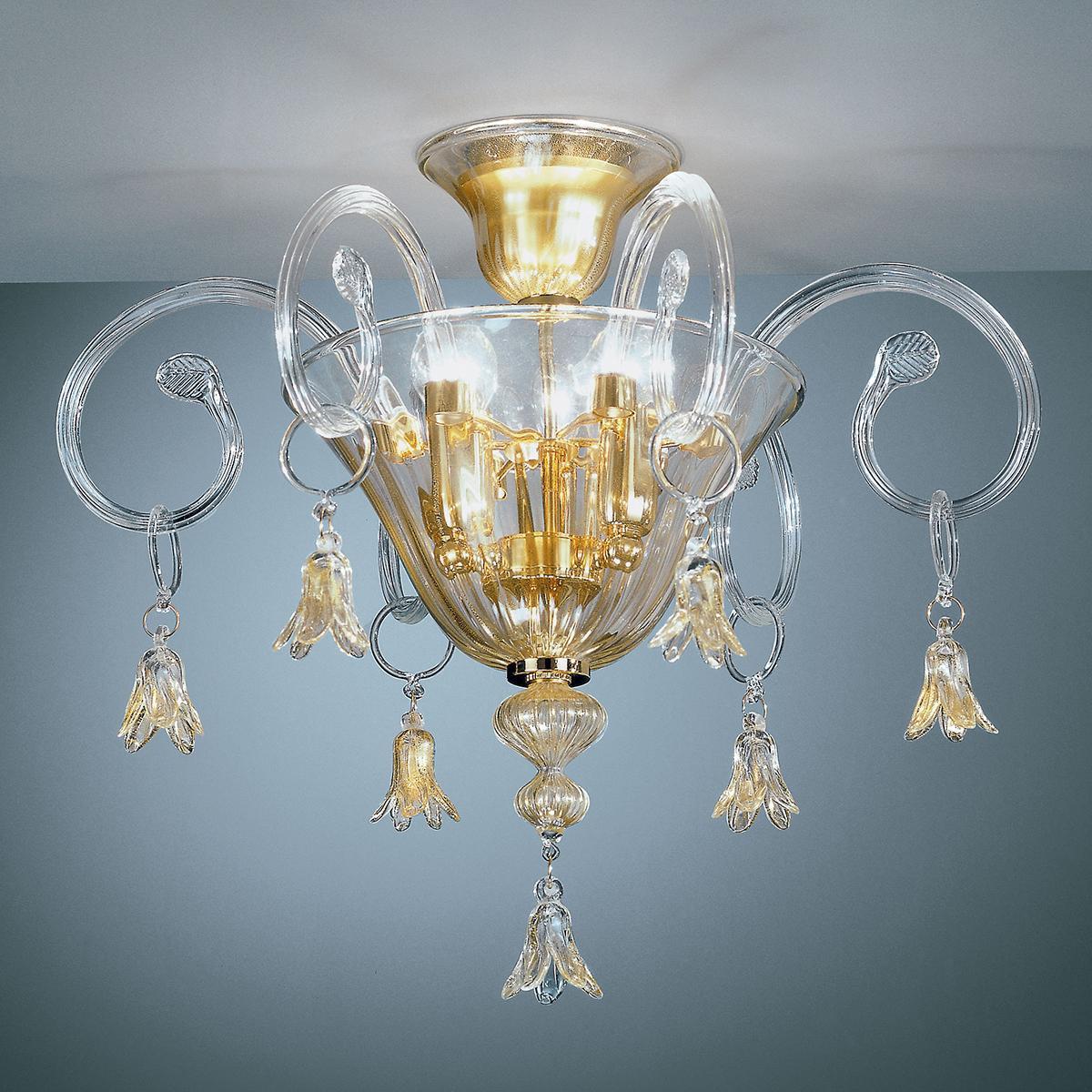 """""""Amelia"""" lampara de techo de Murano - 3 luces - transparente y oro"""