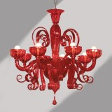 """Sogno"" red Murano glass chandelier"