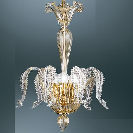 """Oreste"" Murano glass pendant light - 3 lights - transparent and gold"