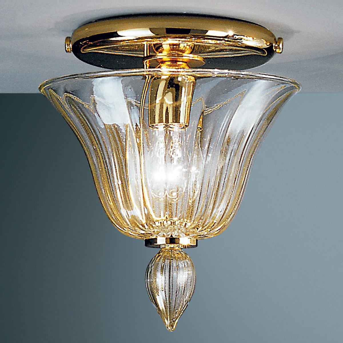 """""""Barbara"""" plafonnier en verre de Murano - transparent et or"""