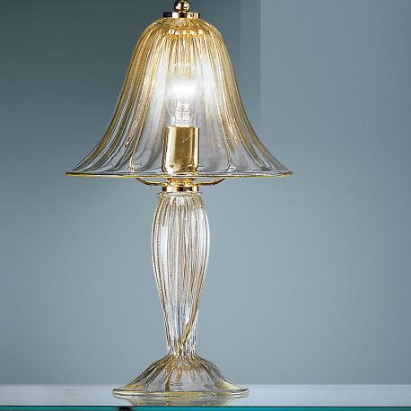 """Barbara"" Murano glass bedside lamp - transparent and gold"