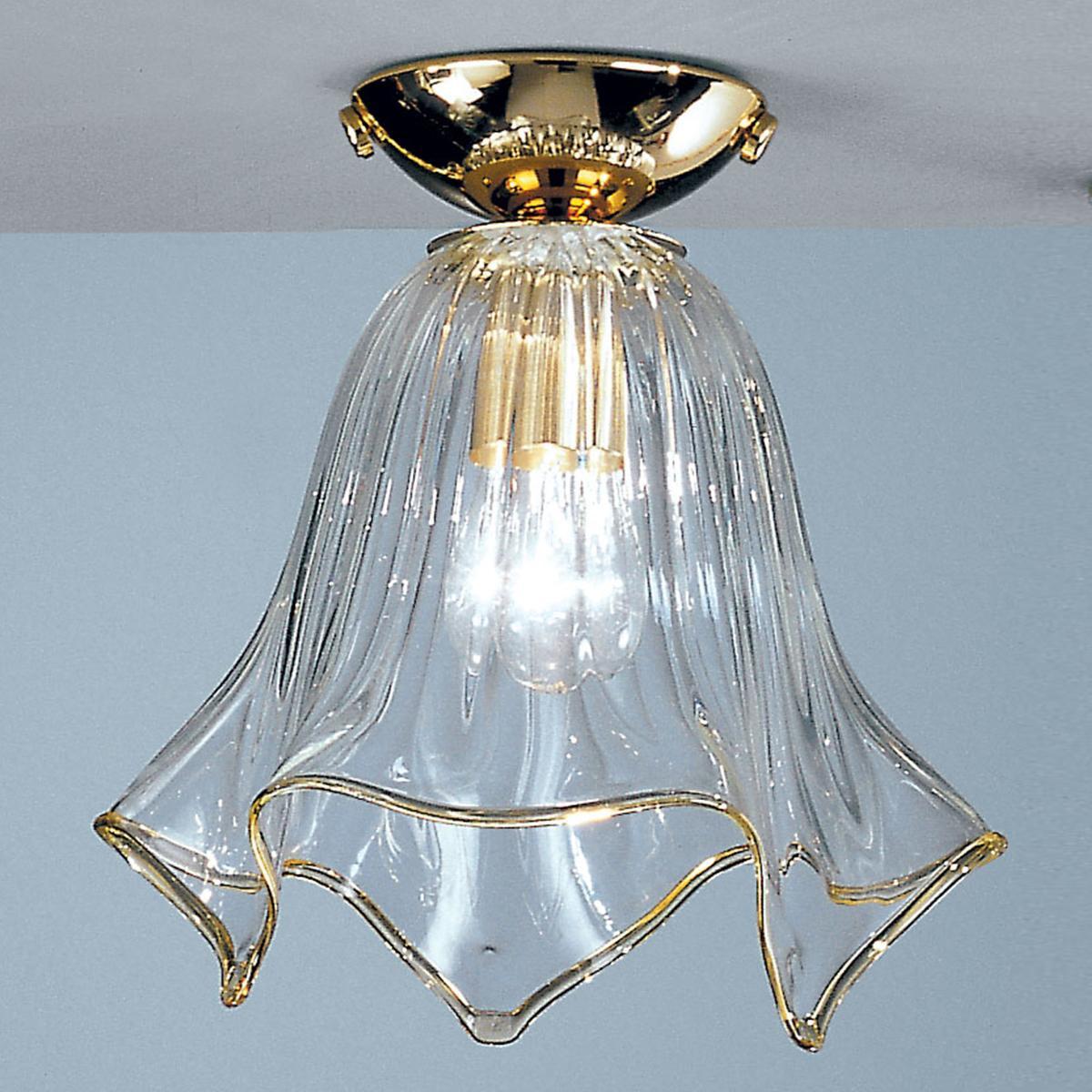 """Fazzoletto"" plafonnier en verre de Murano - transparent et or"