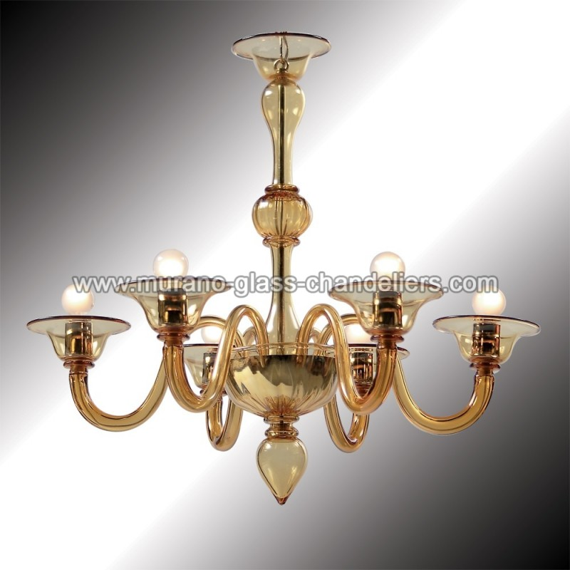 """Murano Glass Chandelier Pictures: """"Nane"""" Amber Murano Glass Chandelier"""