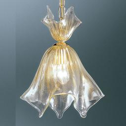 """Fazzoletto"" Murano glass pendant light - transparente and gold"