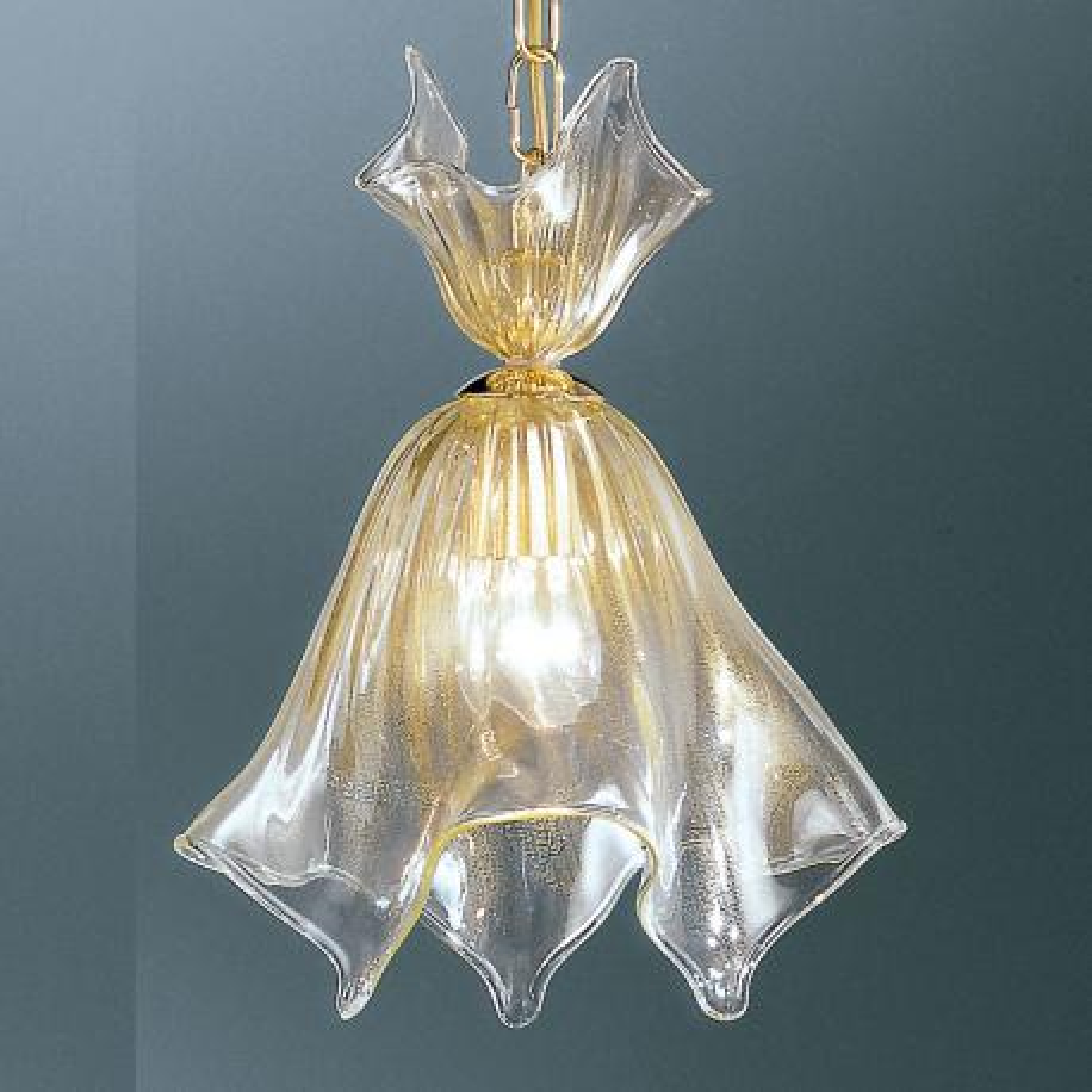 """Fazzoletto"" suspension en verre de Murano - transparent et or"