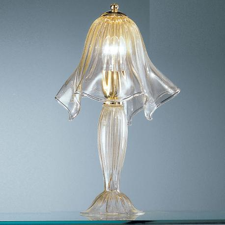 """Fazzoletto"" Murano glass bedside lamp - transparent and gold"