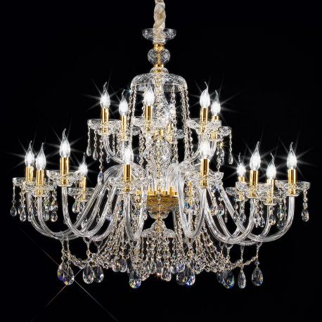 """Cimabue"" large venetian crystal chandelier - 12+6 lights - transparent - Asfour crystal"
