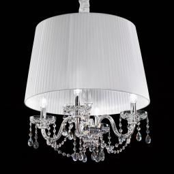 """Cimabue"" venetian crystal pendant light - 4 lights - transparent with transparent Asfour pentants"