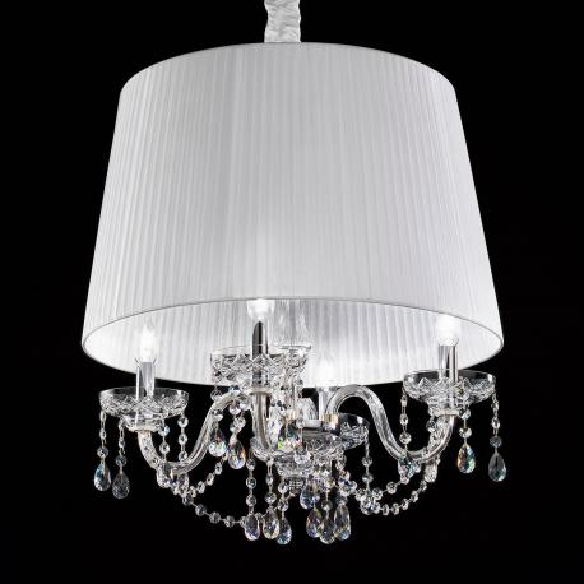 """Cimabue"" lámpara colgante veneciana en cristal  - 4 luces - transparente con transparent Asfour colgantes"