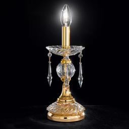 """Amadeo"" venetian crystal bedside lamp - 1 light - transparent with Swarovski pendants"