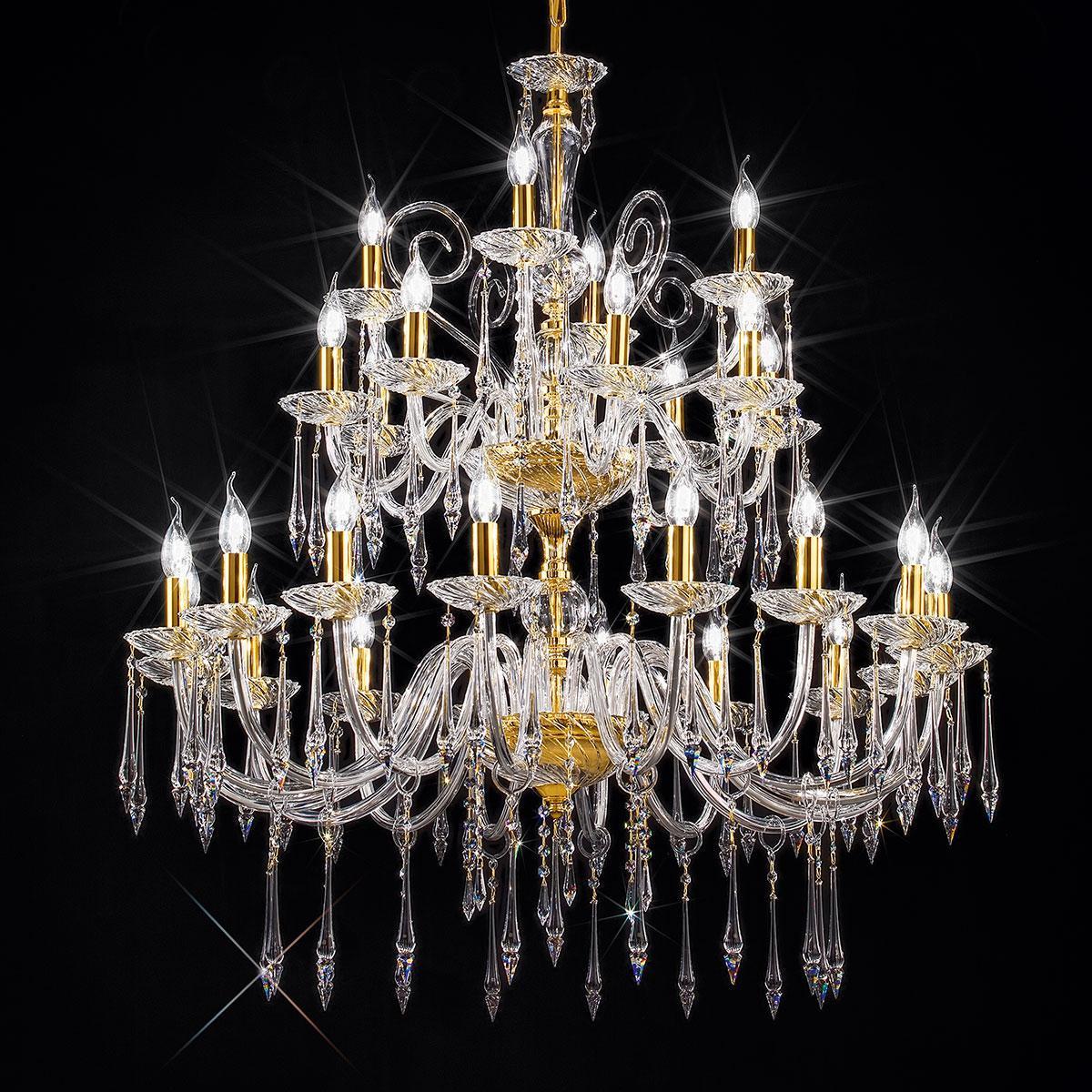 """""""Amadeo"""" araña grande en cristal veneciano - 16+8+4 luces - transparent con Swarovski colgantes"""