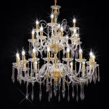 """Amadeo"" large venetian crystal chandelier - 6+6 lights - transparent with Swarovski pendants"