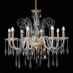 """Amadeo"" venetian crystal chandelier - 8 lights - transparent with Swarovski pendants"