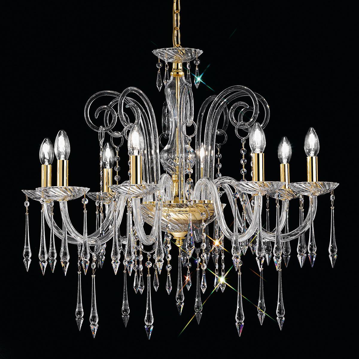 """""""Amadeo"""" lampara veneciana en cristal - 8 luces - transparent con Swarovski colgantes"""