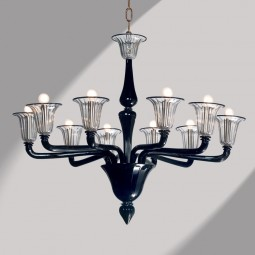 """Coco"" 10 lights black Murano glass chandelier"