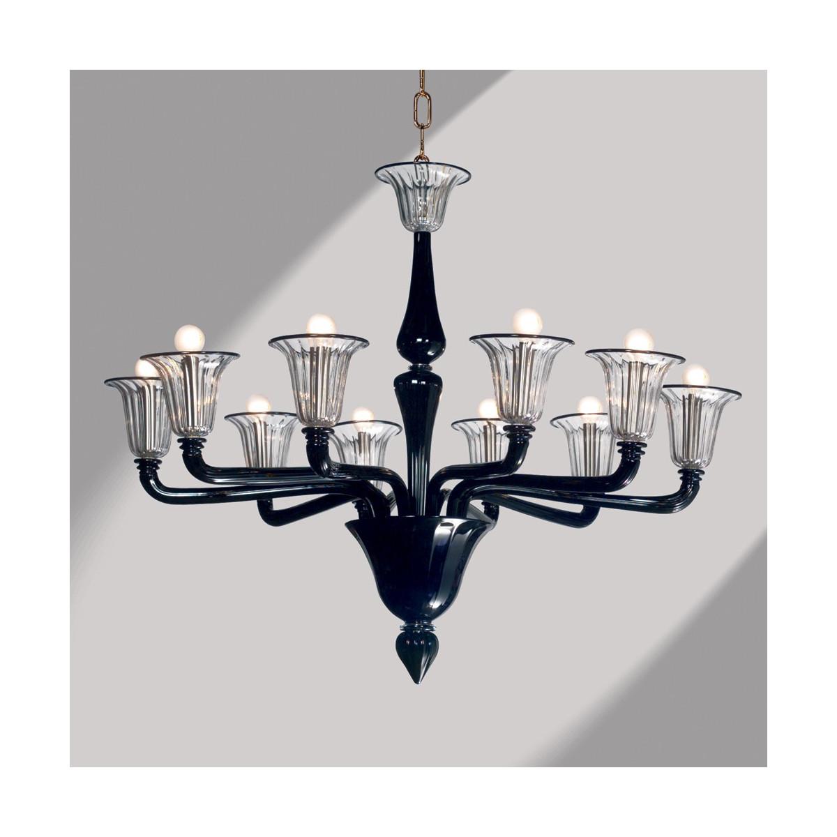 """""""Coco"""" lustre noir en verre de Murano 10 lumières"""