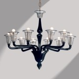 """Coco"" black Murano glass chandelier"