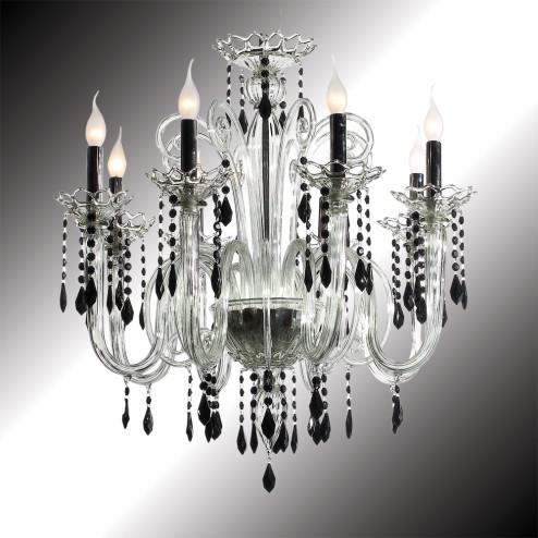 """Vittoria"" lustre en verre de Murano cristal et noir"