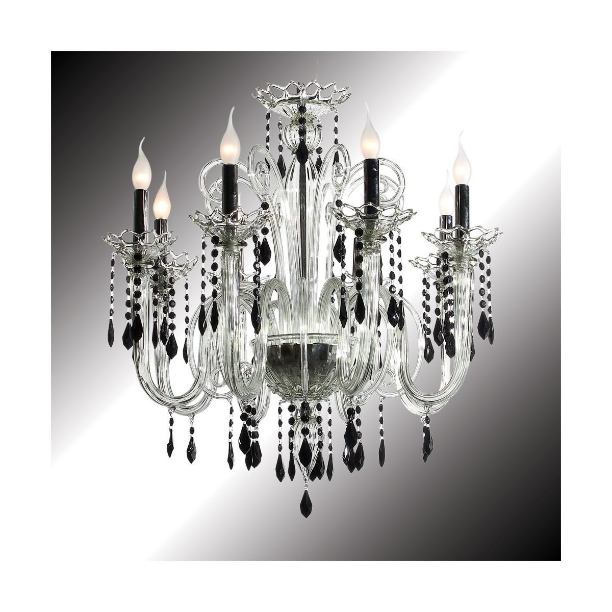 """""""Vittoria"""" lustre en verre de Murano cristal et noir 8 lumières"""
