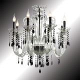 """Vittoria"" crystal and black Murano glass chandelier"