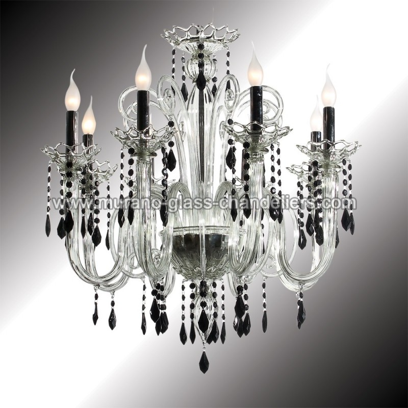 vittoria lustre en verre de murano cristal et noir. Black Bedroom Furniture Sets. Home Design Ideas