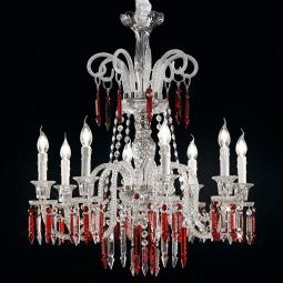 """Cima"" venetian crystal chandelier - 8 lights - transparent with red pendants"