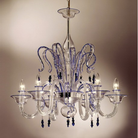 """Zaffiro"" 6 lights crystal and blue Murano glass chandelier"